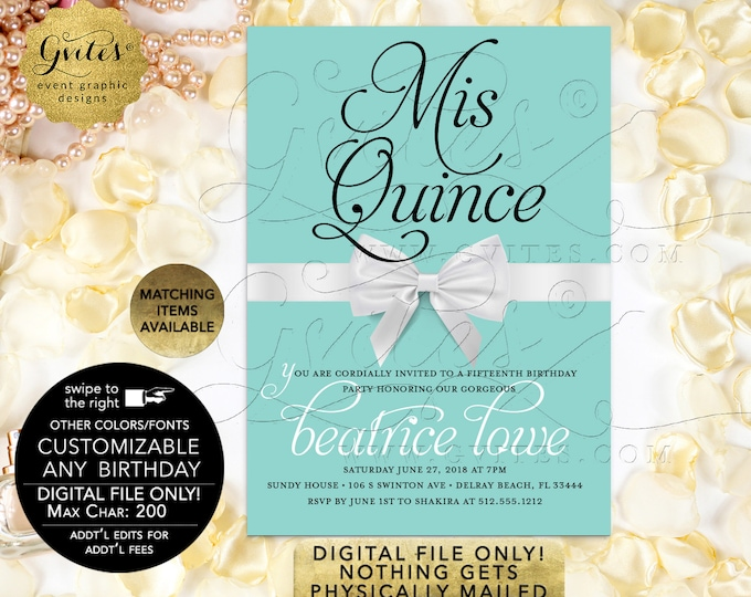"Mis Quince Customizable Invitation | Breakfast Blue Themed | Printable Digital PDF + JPG | 5x7"" {Satin Ribbon}"