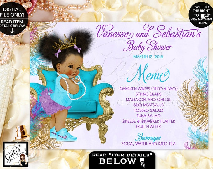 "Baby Shower Menu Cards, Turquoise, Gold, Purple and Lavender,  Princess African American,. Menus Baby, Table Decor, DIGITAL 7x5"" or 6x4"""