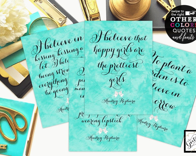 Breakfast at Audrey Hepburn Quotes Set of 4 - Bridal Shower Decorations, breakfast at bridal signs CUSTOMIZABLE {4x6 or 5x7}