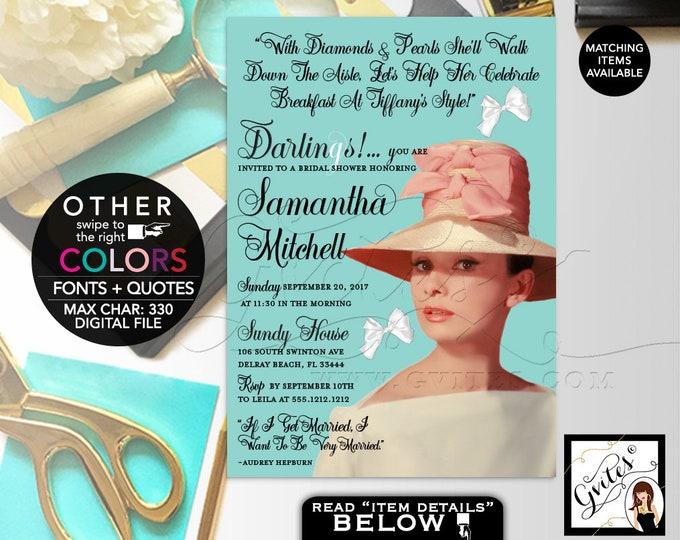 "Audrey Hepburn Pink Hat Diamonds Pearls light Blue  printable Invitation, Wedding Shower, Bridal, DIY, Printable, Digital, 5x7"" Gvites"