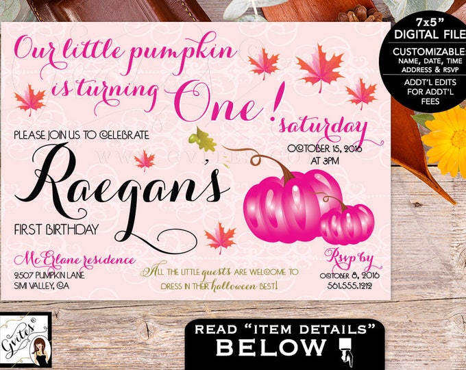 Pink Pumpkin First Birthday Invitation Blush Pink Orange Vintage, Fall Autumn Invitations baby invites, 1st bday party, digital, 7x5""