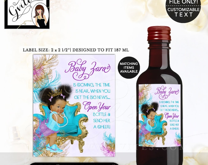 """MINI-Wine Labels Turquoise Purple & Gold Baby Shower, African American baby girl, princess, Afro Puffs. {2x2.5"""" 12 Per/Sheet} Gvites"""