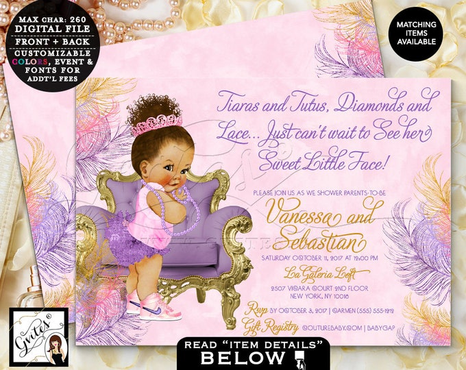 Purple and Pink Gold Baby Shower, African American Princess Invites, Afro Bun Puffs Tiara Digital file, Printable, 7x5 Double Sided. Gvites