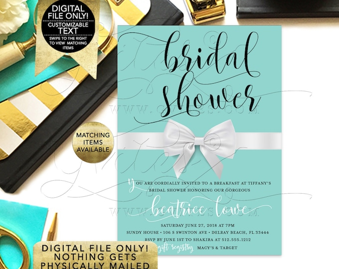 "Breakfast Bridal Shower Blue Printable Invitations, Customizable Text, 5x7"" DIY, Digital File Only!"