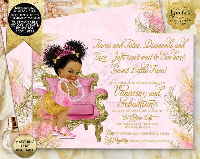 Pink Gold Baby Shower Invitation Tiaras Tutus Diamonds Lace African American Princess {Design: TIACH-110} By Gvites