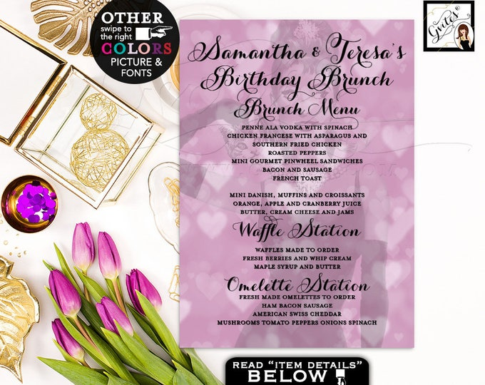Audrey Hepburn Menu Card Birthday Brunch Menus Cards, Printable Party Supplies, DIY, Digital File Only, Gvites {Purple Heart Bokeh} 5x7