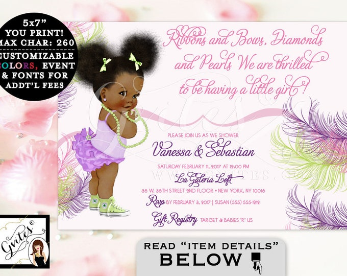 Pink Purple and Lime Green Baby Shower Invitation, African American girl, ruffles, diamonds and pearls. Afro Puffs. Gvites