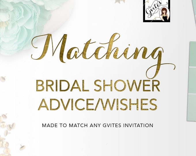 Matching Advice Card Well Wishes For Bridal Shower Add-on - To coordinate with any Gvites invitation design. Turnaround 3 Business Days