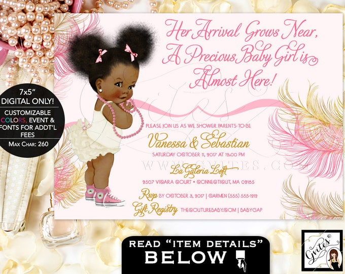 African American baby girl baby shower invitations, pink, rose gold, blush pink, pearl white, ivory, pearls Afro Puffs. Gvites