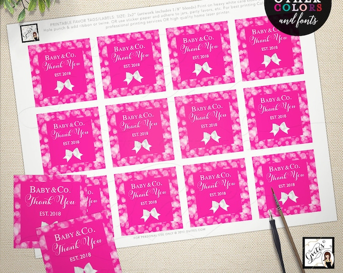 "Pink Baby Shower Stickers, Baby and Co Thank You Tags, Printable Party Favors Labels Decorations, Girl, 2x2"" 12 Per Sheet"