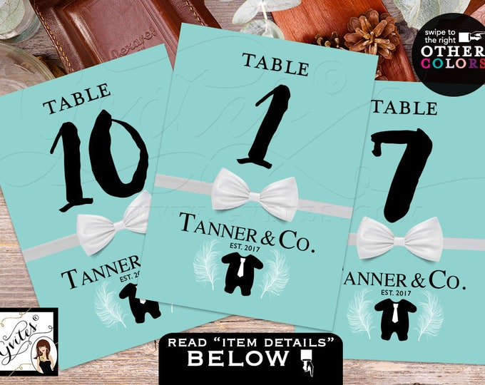 Baby and Co, Table Numbers, custom decorations, Baby Shower, BOY tux bow tie, breakfast at. 4x6 or 5x7. DIGITAL FILE!