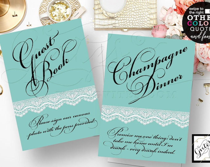 """Champagne Sign, Guest Book, Audrey Hepburn Quote Print, Bridal Shower, Table Signs, Breakfast at Blue Theme, {5x7"""" Set of 2}"""