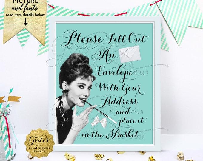 "Please Fill Out Sign, Write Your Address Sign, Wedding, Bridal Shower, Birthday, Breakfast at, Audrey Hepburn Printable, Digital, DIY, 8x10"""