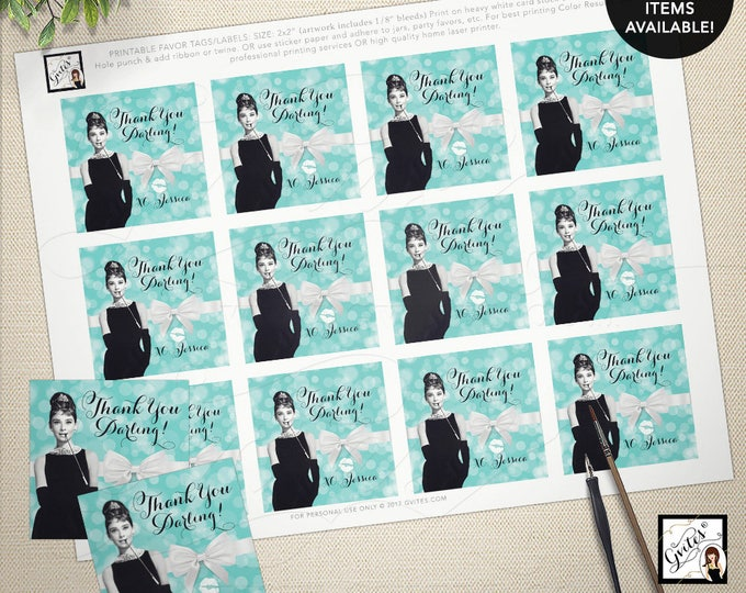 """Audrey Hepburn party supplies, tags, stickers, party favors breakfast at bridal blue favor thank you tags 2x2"""" 12/Per Sheet"""