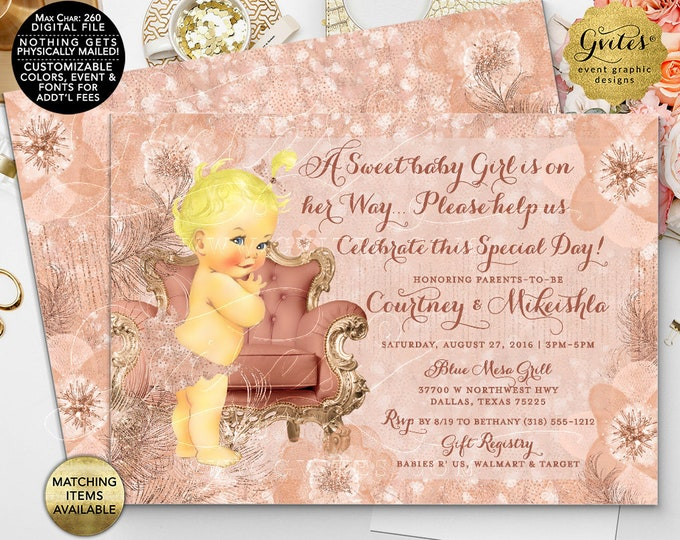 "Blush and Rose Gold Baby Shower Invitations, Feathers couture glitter watercolor. Printable Invites, 7x5"" double sided."