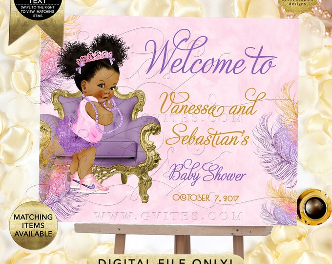 Pink Purple GOLD Welcome Baby Shower Sign, Afro Puffs, ethnic princess printable poster signs, Printable. {Welcome Sign ONLY}