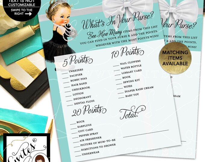 "What's in your purse baby shower game. Printable cards. 5x7""/2 Per Sheet {INSTANT DOWNLOAD/Baby: Light Brunette}"