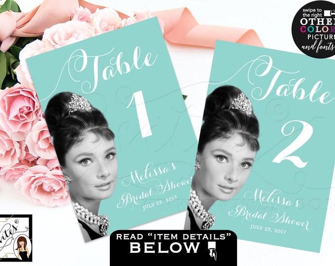 Breakfast at Tiffany's Table Numbers, Audrey Hepburn Printable Party Decor, Table Signs, Bridal Shower, Sweet 16, Birthdays, DIY, Digital