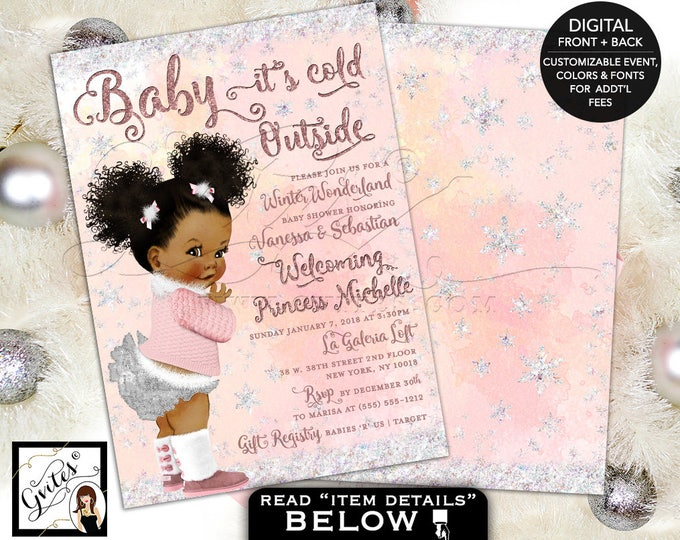 Winter Wonderland Baby Shower, Pink and Silver, Baby it's Cold Outside Invitations, African American puffs, 5x7 double sided. Gvites