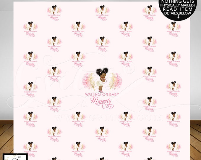 Step and Repeat Baby Shower, pink ivory and gold, african american baby girl, photo booth poster wall backdrops, DIGITAL FILE