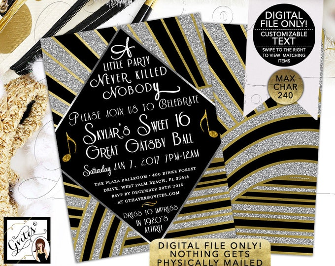 Great Gatsby Sweet 16 Printable, The Great Gatsby Birthday Invitations, Gold and Black Party, Double Sided 5x7. DIGITAL FILE ONLY! Gvites