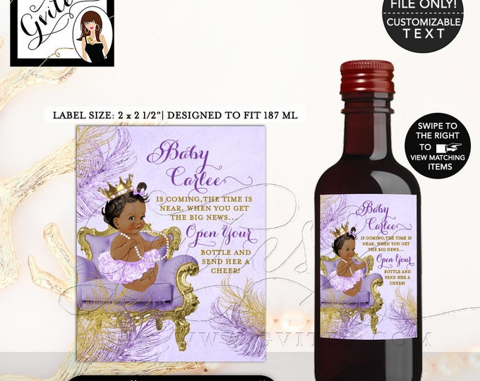 MINI Baby Shower Wine Labels, lavender and gold, the time is near, princess African American favors stickers bottle {2x2.5 12 Per/Sheet}