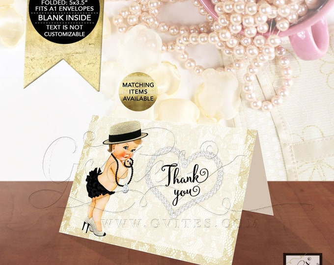 "Thank You Baby Shower Cards Printable Diamonds Pearls, Black Gold, Greeting Card Folded Blank Inside, Ribbons Bows 5x3.5"" 2/Per Sheet."