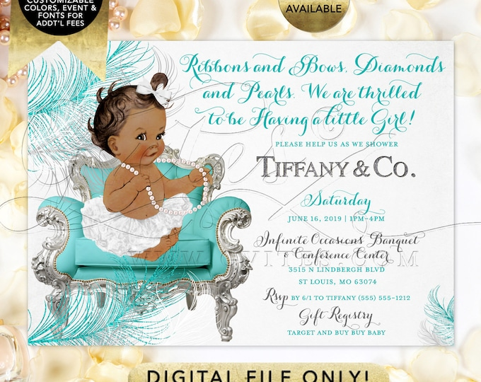 White Silver Turquoise Blue  Baby Shower Invitation, African American, ribbons bows, diamonds pearls. Digital File Only! 7x5""