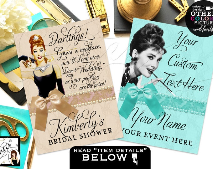 """Bridal shower pearl necklace game sign and custom sign for decorations, favors, quotes, CUSTOMIZABLE {4x6"""" or 5x7""""} Set of 2"""
