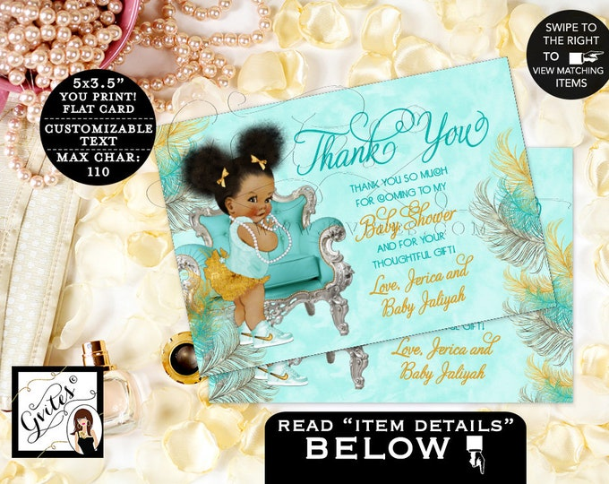 "Baby Shower Thank You Cards, Blue, Gold and Silver, Personalized Note Cards, Ribbons Bows, Diamonds Pearls, Afro Puffs  {5x3.5"" 4 Per/Sheet}"