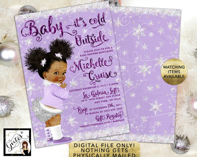 Baby it's Cold Outside Invitations, Baby Shower Winter Wonderland, African American afro puffs girl lavender white, 5x7 double sided. Gvites