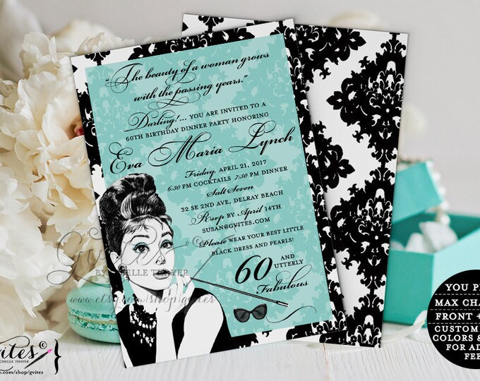 """60th Birthday Invitation Audrey Hepburn Breakfast at Blue and Black Dinner Cocktail party invites, utterly fabulous, 5x7"""" Digital"""