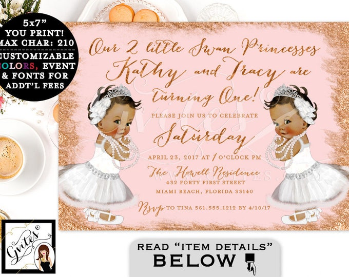 Rose Gold Baby Invitation, Swan Lake, Blush Pink Twins Baby First Birthday, Princess Turning One, Printable, African American, Gvites