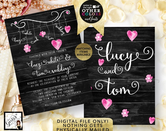 Hearts Wedding Invitation, Black Pink and White, Garland, Rustic Shabby Chic Bridal Printable Invites, Double Sided, Template, DIY, 5x7""