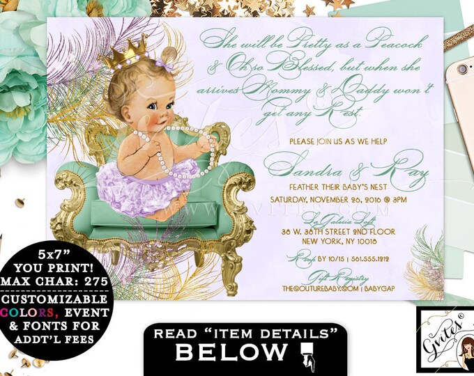 Mint and Gold BABY SHOWER Green Lavender purple gold princess baby girl, diamonds pearls, PRINTABLE invitation, 7x5. Gvites