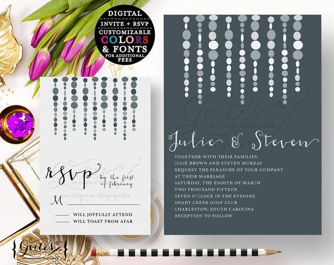 Silver wedding invitation, printable wedding invitations, gray wedding invitation template, traditional, modern invites. {You Print}