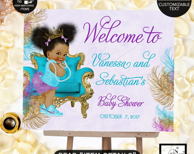 Welcome Sign Turquoise Purple & Gold Baby Shower Invitation, African American baby girl tiara, princess, ribbons bows, Afro Puffs, Gvites.