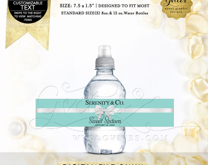 "MINI Water Labels Sweet 16 Party Favors, Text/Colors & Fonts. Fits 8oz-12oz. Size: 7.5 x 1.5""/7 Per Sheet {Satin Ribbon}"