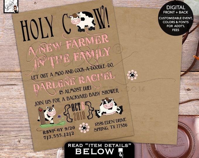 Holy Cow Farm baby shower invitations, vintage, shabby chic, country, barn invitation, JPG & PDF 5x7 Digital File Printable Invites, Gvites