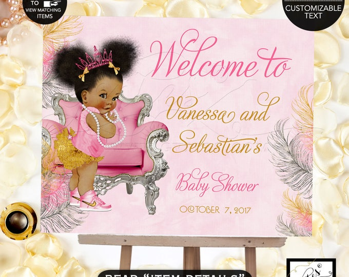 Pink Gold and Silver Baby Shower Welcome Sign, Decoration, Baby Girl African American Afro Puffs Pink Tiara. {Pink/Silver/Gold Feathers}