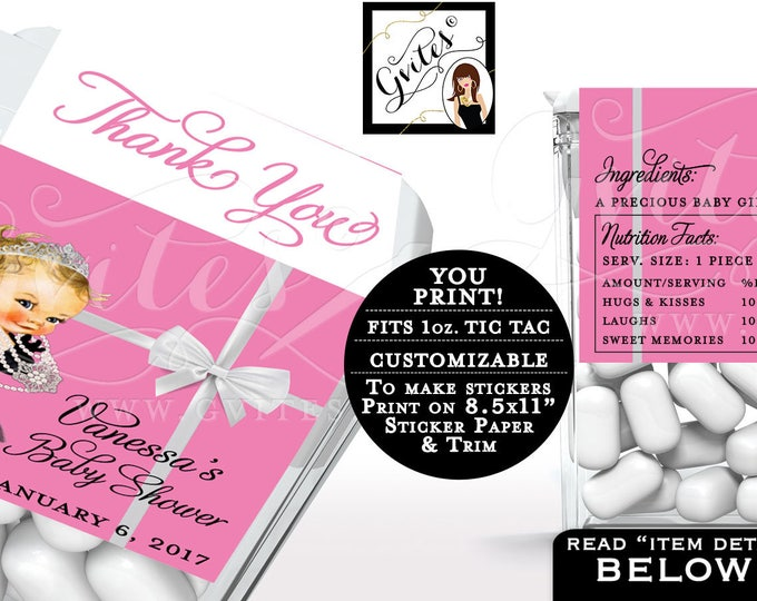 Pink Tic tac, breath mint label BABYS SHOWER, breakfast at , candy wrappers, favors gifts, thank you, Custom Girl PRINTABLE. 8/Per Sheet.