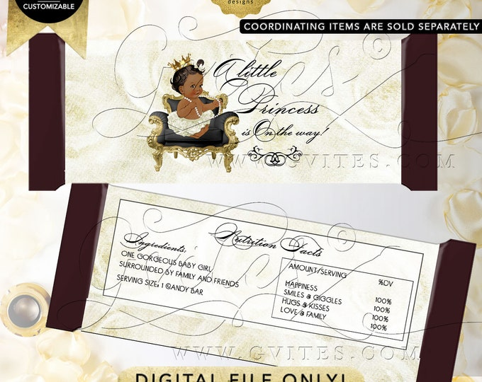Candy Bar Wrapper INSTANT Download Princess African American Baby Shower | Dark/Jet Design: WHRST-102 By Gvites