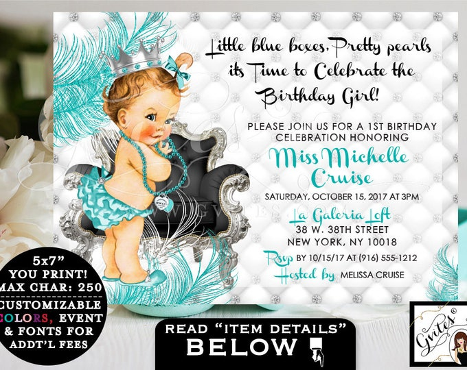 "Breakfast at FIRST BIRTHDAY invitation, baby & co. turquoise blue and silver white, princess diamonds pearls. 7x5"" Gvites"