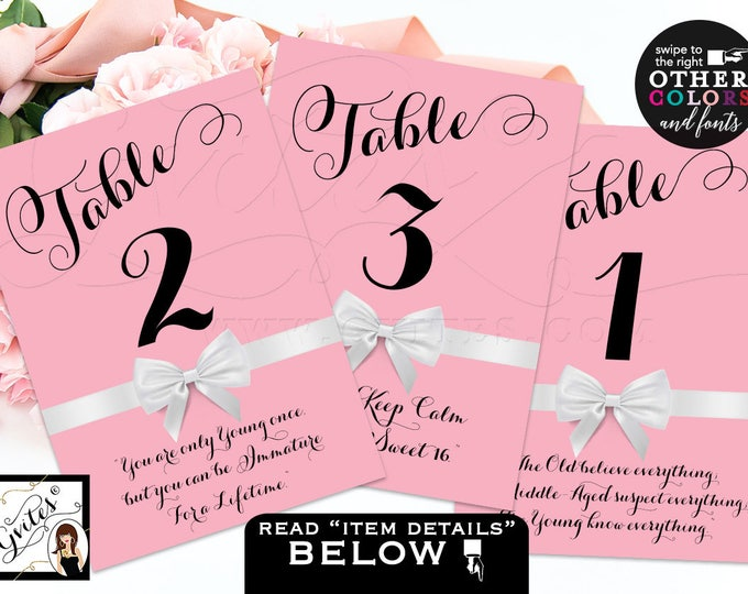Sweet 16 table sign, table numbers, decorations, custom quotes, birthday, sweet sixteen, quinceanera DIGITAL FILE! 4x6 or 5x7.