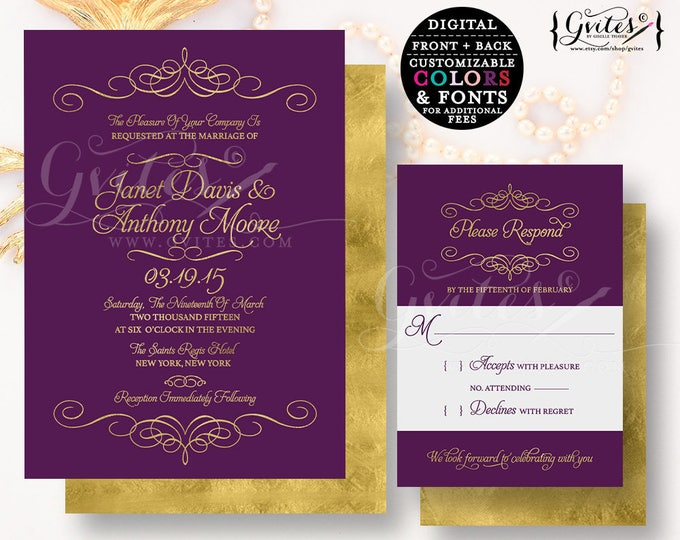Purple & gold wedding invitation, customizable invites gold glitter modern printable, plum, digital, couture glitz glam, modern double sided
