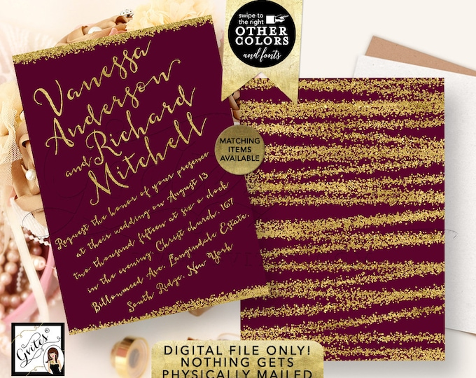 Gold and Burgundy Wedding Invitations, Purple Glitter Printable Invites, Calligraphy Elegant Modern Invite, DIY, Digital, 5x7, Double Sided