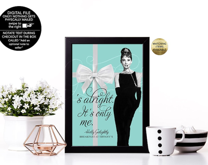 "Bridal Shower Decorations, Breakfast at Signs, Personalized Quotes, Food Labels, Cards, Audrey Hepburn Party Supplies {4x6"" or 5x7""}"