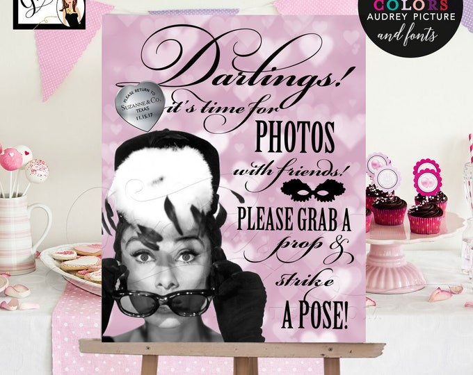 Photo Booth Sign Breakfast at themed, Audrey Hepburn PhotoBooth Signs, bridal showers, weddings, sweet 16, digital file! 8x10