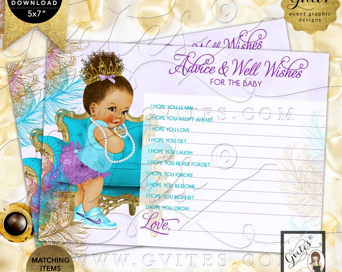 "Purple Gold Turquoise Lavender Advice baby shower wishes | Med/Bun Curly INSTANT DOWNLOAD | 7x5"" 2 Per Sheet 
