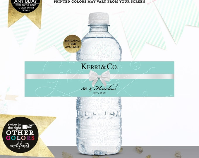 """50th Water Bottle Labels Personalized 